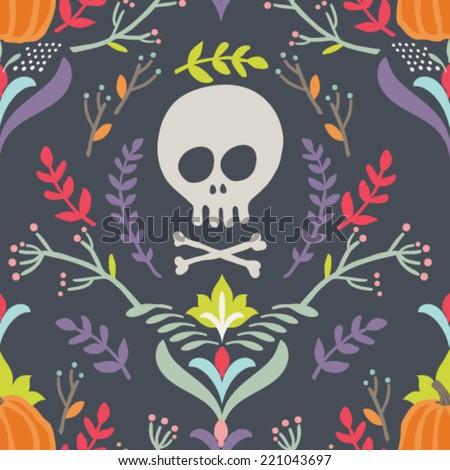 Seamless vector pattern. Hand drawn Halloween background - stock vector