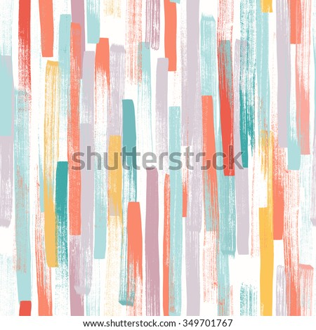 Seamless vector pattern made by hand drawn thin paint strokes. In happy pastel colors.  - stock vector