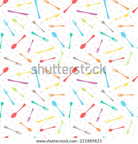 Seamless vector pattern made of kitchen table cutlery silhouettes - stock vector