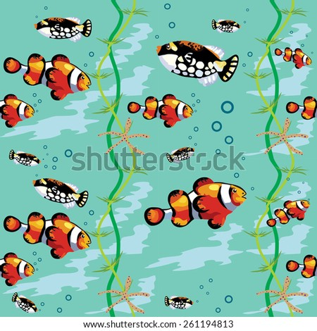 Seamless vector pattern many decorative  fishes, seaweed, starfish and bubbles on a aquamarine  background. - stock vector