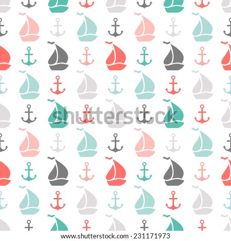 Seamless vector pattern of anchor and sailboat shape. Endless texture for printing onto fabric, web page background or invitation. Abstract retro nautical style. White, black, red, green, grey colors - stock vector