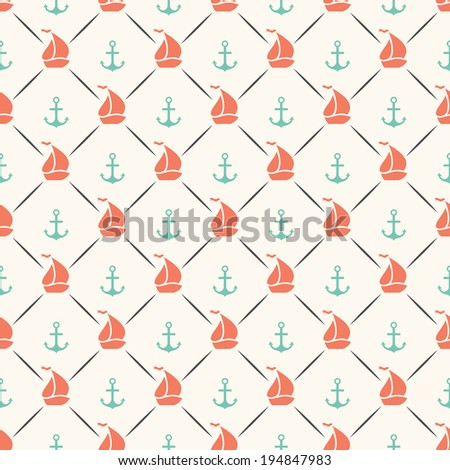 Seamless vector pattern of anchor, sailboat shape and line. Endless texture for printing onto fabric, web page background and paper or invitation. Abstract retro nautical style. Red and blue colors - stock vector