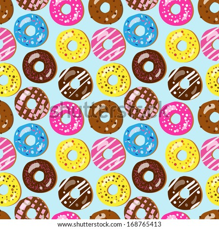 Seamless vector pattern of assorted doughnuts with different toppings (birthday party, wedding celebration, wrapping paper, textile, wallpaper design) - stock vector