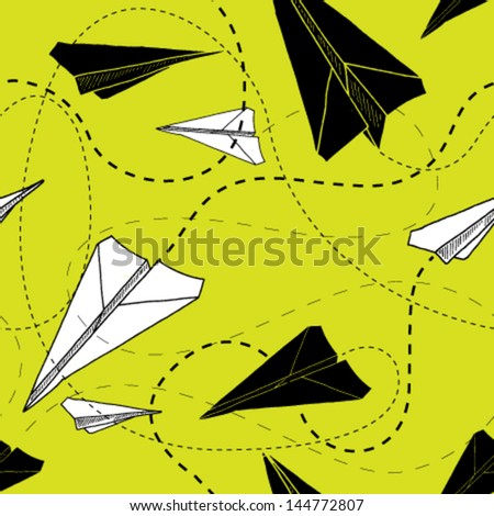 Seamless vector pattern of black and white paper airplanes. - stock vector