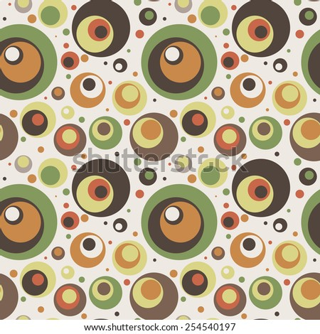 Seamless vector pattern of colored circles in retro style - stock vector
