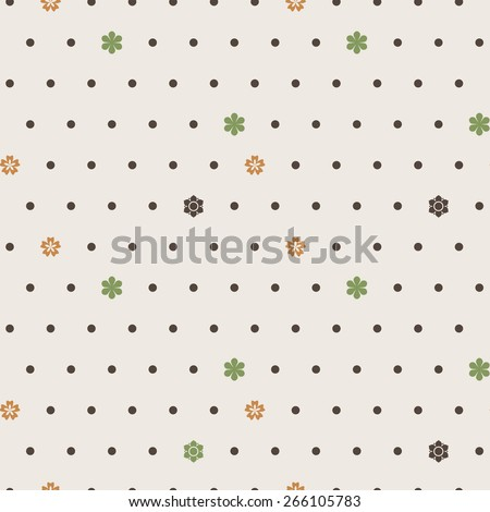 Seamless vector pattern of dots and small colorful flowers - stock vector