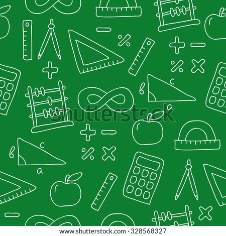 Seamless vector pattern of icon math on a green background, painted by hand. - stock vector