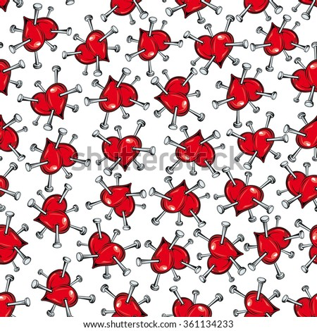 Seamless vector pattern of scattered red hearts studded with nails symbolic of heartbreak and unhappiness in love or of ill health and heart problems - stock vector