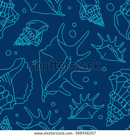 Seamless vector pattern of shells on a blue background.