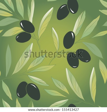 Seamless vector pattern olive branch on paper.For labels, packaging. - stock vector