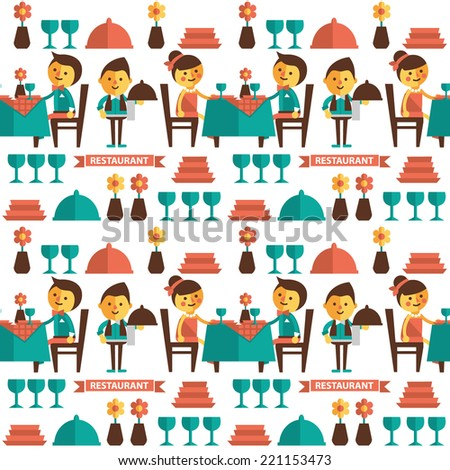 Seamless vector pattern. Restaurant. Guests, waiters and Visitors - stock vector