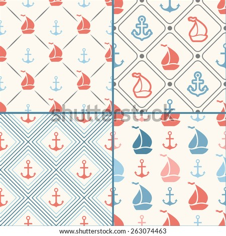 Seamless vector pattern set of anchor, sailboat shape in frame and polka dot. Endless texture for printing onto fabric, web background or invitation. White, blue, red colors - stock vector