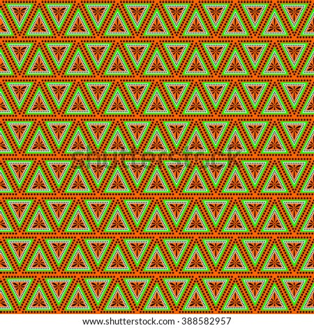 Seamless vector pattern. Symmetrical geometric background with triangles in green and orange colors . Decorative repeating ornament. Series of Geometric Ornamental Patterns. - stock vector