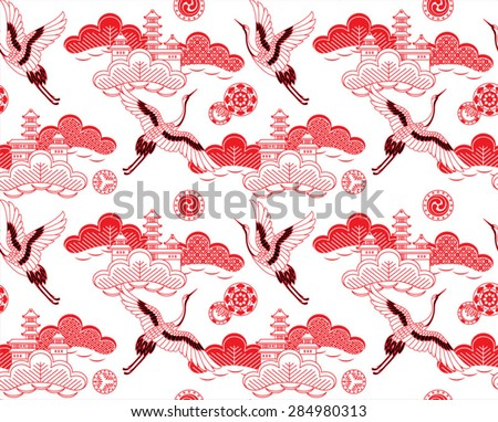 Seamless vector pattern. Traditional japanese ornamental motives. - stock vector