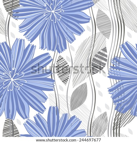 Seamless vector pattern with abstract flowers. Hand-drawn floral background. - stock vector