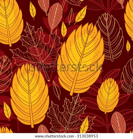 Seamless vector pattern with autumn leaves  - stock vector