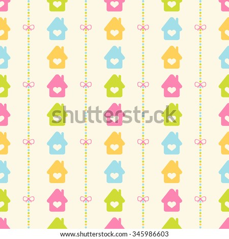 Seamless vector pattern with bows on a colorful strips background and colorful houses. For cards, invitations, wedding or baby shower albums, backgrounds, arts and scrapbooks.  - stock vector