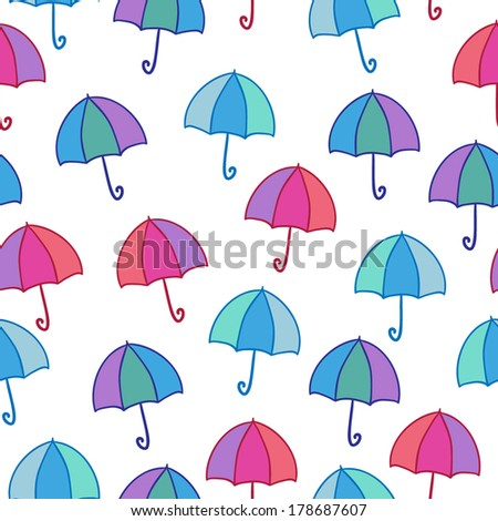 Seamless vector pattern with bright umbrellas - stock vector