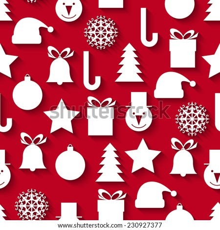 Seamless vector pattern with Christmas icons - stock vector