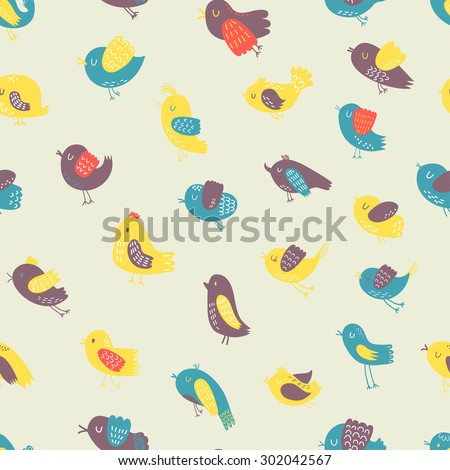 Seamless vector pattern with cute birds. Can be used for creating card, invitation card for wedding,wallpaper and textile. - stock vector