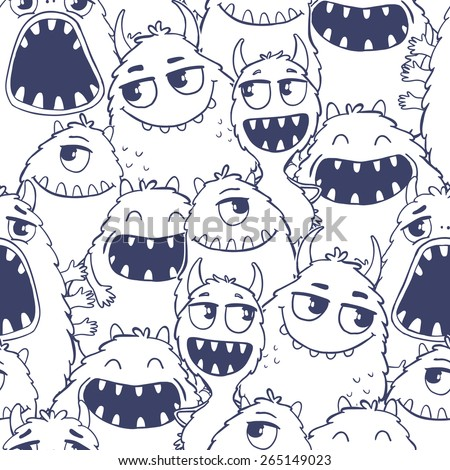 Seamless vector pattern with cute cartoon monsters. Useful for packaging, wrapping paper, wallpaper, fabric, fashion, home decor, etc. - stock vector