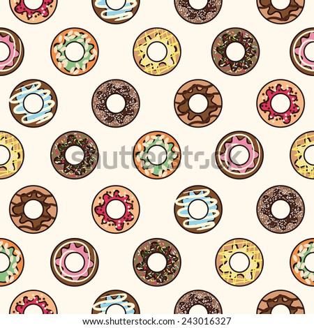 Seamless vector pattern with cute colorful freehand donuts on plain white background - stock vector
