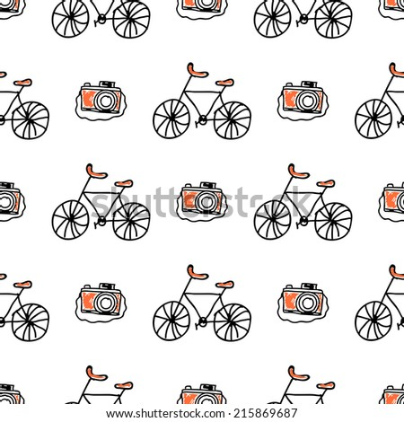 Seamless vector pattern with doodle bicycles and cameras on white background - stock vector