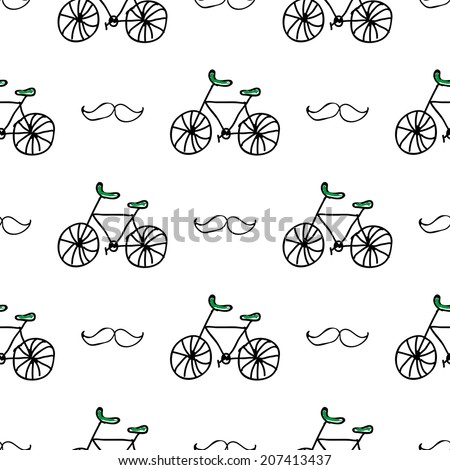 Seamless vector pattern with doodle bicycles and mustache on white background - stock vector