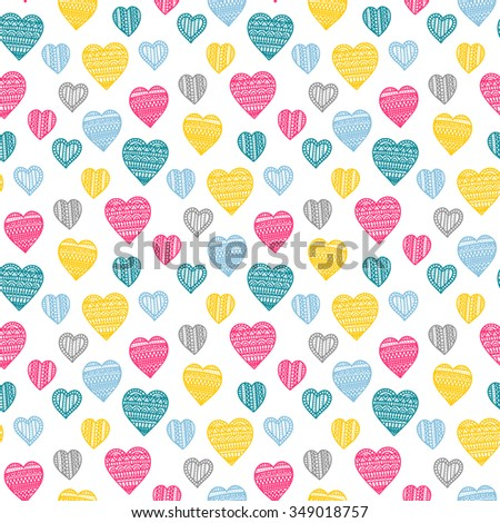 Seamless vector pattern with doodle hearts. Colorful background for St. Valentine's Day. - stock vector