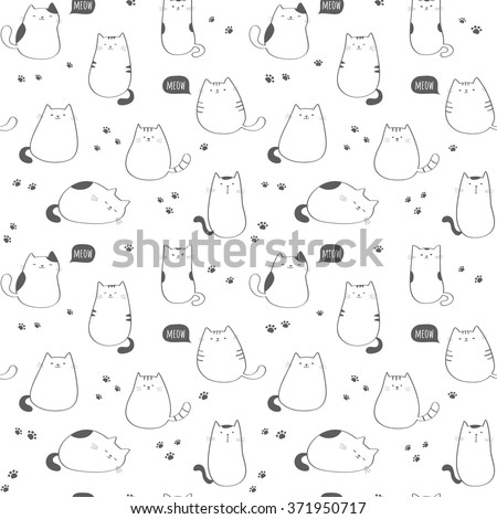 Seamless vector pattern with funny cute cats - stock vector