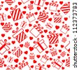 Seamless vector pattern with gift boxes and hearts EPS8 - stock vector