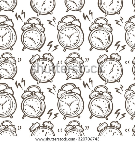 Seamless vector pattern with hand drawn ringing alarm clocks, black and white time background - stock vector