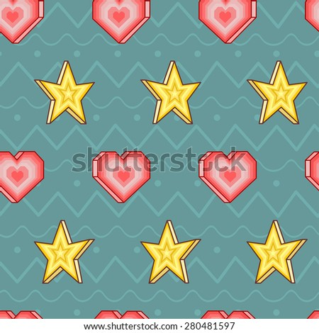 Seamless vector pattern with hearts and stars on cyan background with ornament - stock vector