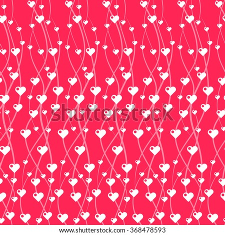 Seamless vector pattern with hearts and wavy lines. Design element for Valentine's Day, weddings, engagements, birthdays. - stock vector