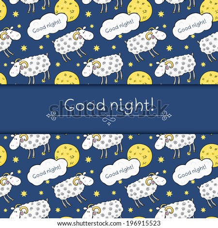 Seamless vector pattern with images cute sheep on background night sky with moon and wish good night - stock vector