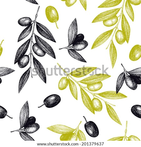 Seamless vector pattern with ink hand drawn olive tree twigs isolated on white. Vintage olive background - stock vector