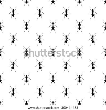 Seamless vector pattern with insects, black and white symmetrical  background with ants - stock vector