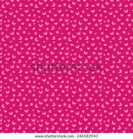 Seamless vector pattern with many small butterflies and flowers in pink hues - stock vector