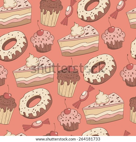 Seamless vector pattern with muffins, sweets, donuts and cakes - stock vector