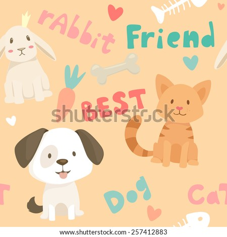 Seamless vector pattern with pet best friends animals, dog, cat and rabbit, food elements and text  - stock vector