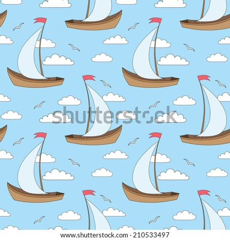 seamless vector pattern with sailing ships, clouds and gulls - stock vector