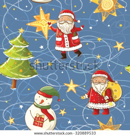 Seamless vector pattern with Santa Claus, snowman, christmas tree and stars. Tileable christmas background. - stock vector
