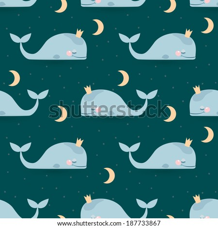 Seamless vector pattern with sleeping whales, moon & stars. Good night card - stock vector