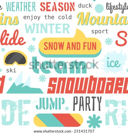 Seamless vector pattern with snowboarding stuff and words, light colored version (flat design) - stock vector