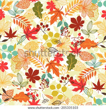 Seamless vector pattern with stylized autumn leaves. - stock vector