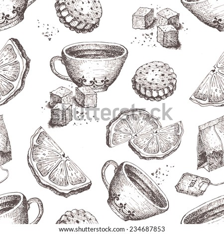 Seamless vector pattern with tea time elements. Hand-drawn vector illustration - stock vector