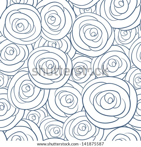 Seamless vector pattern with vintage roses - stock vector