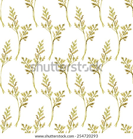 Seamless vector pattern with watercolor floral elements. Hand drawn ornament with herbs.  Perfect for greetings, invitations, manufacture wrapping paper, textile, web design. - stock vector