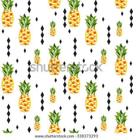 Seamless  vector pineapple pattern with triangles, strips, dots and circles. Tropical jungle fruits in original geometric style - stock vector