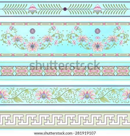 Seamless vector set of borders. Imitation of chinese porcelain painting. Lotus flowers and leaves are painted by watercolor. - stock vector